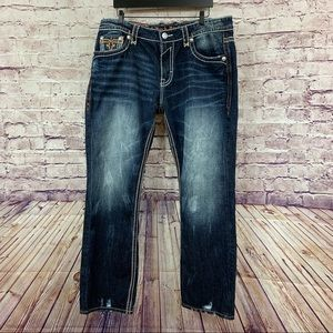 Rock Revival Erkal Dark Wash Distressed Jeans